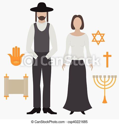 Orthodox Jew Man And Woman Flat Icon Symbols Of Judaism Minora