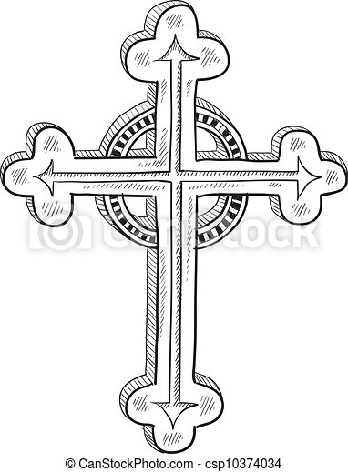 Orthodox or Catholic cross sketch - csp10374034