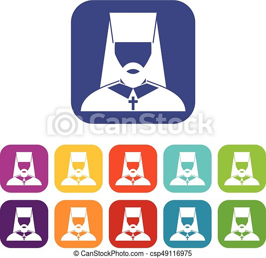 orthodox priest icons set vector illustration in flat style in rh canstockphoto com
