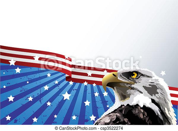 orzeł, amerykanka, łysy, bandera - csp3522274