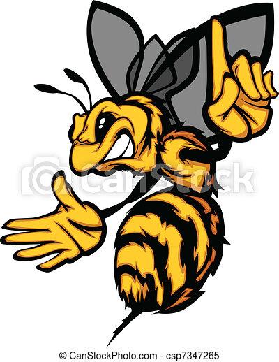 osa, imag, pszczoła, wektor, rysunek, szerszeń - csp7347265