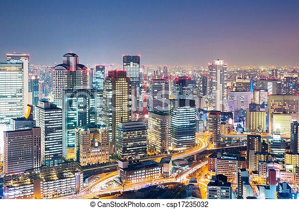 Osaka at dusk japan - csp17235032