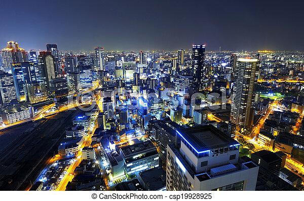 Osaka at night, Japan  - csp19928925