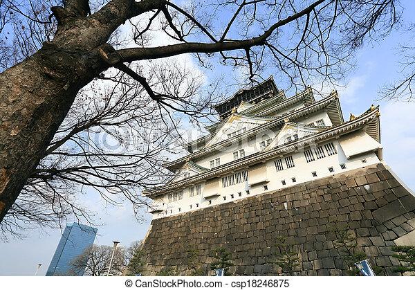 osaka castle in osaka japan winter season. Black Bedroom Furniture Sets. Home Design Ideas