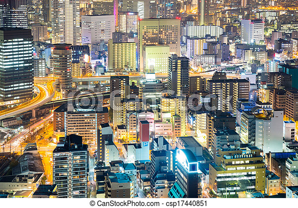 Osaka downtown at night - csp17440851