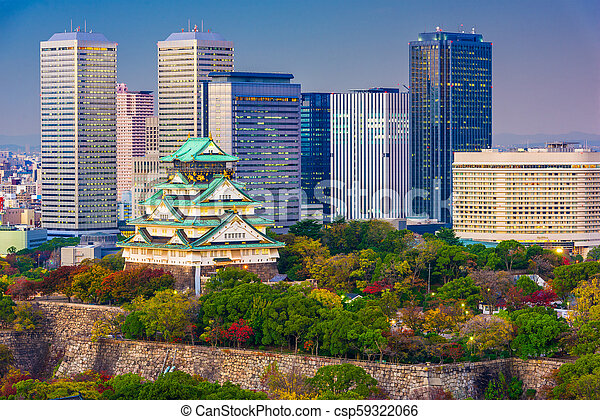 Osaka, Japan Castle Skyline - csp59322066
