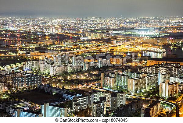 Osaka skyline building at night, Japan - csp18074845