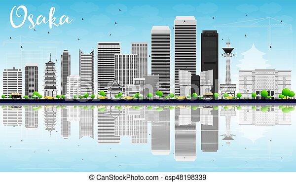 Osaka Skyline With Gray Buildings Blue Sky And