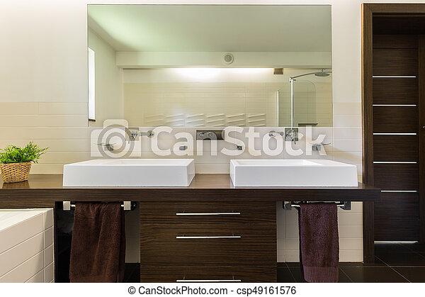 oscuridad, cuarto de baño, muebles modernos