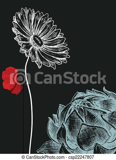 oscuridad, encima, flores, plano de fondo, invitación - csp22247807
