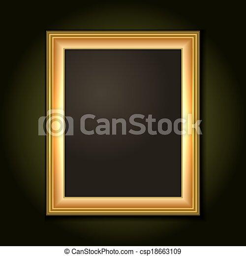 oscuridad, imagen, lona, marco, oro - csp18663109