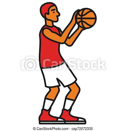 Ilustración de jugadores de baloncesto sobre fondo oscuro - csp72072335