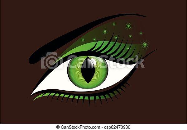Místico ojo verde en un fondo oscuro - csp62470930