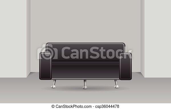 Un sofá oscuro en una habitación - csp36044478