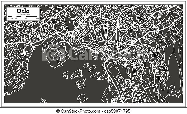 Line Art Illustration Style : Oslo norway map in retro style. vector illustration. outline eps