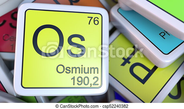 Osmium Os Block On The Pile Of Periodic Table Of The Chemical