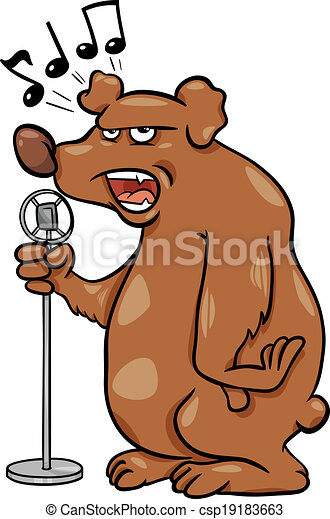 Ilustración de dibujos animados de oso cantante - csp19183663