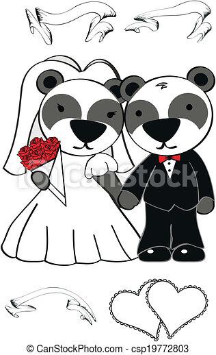 El set de bodas del oso panda - csp19772803