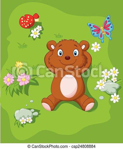 La caricatura del oso feliz recostada - csp24808884