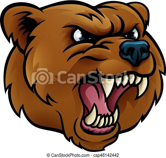 Grficos vectoriales EPS de oso pardo deportes cara enojado