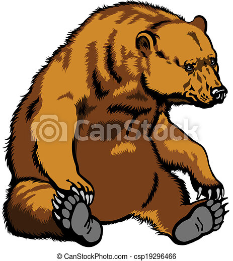 Sentado oso pardo - csp19296466
