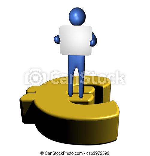 Osoba Symbol Euro Znak Olbrzym Symbol Ilustracja Znak Osoba