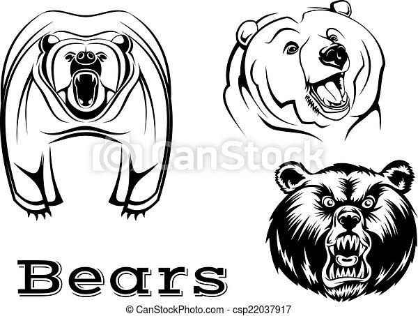 Osos, enojado, oso pardo, caracteres. Fuerte, osos, enojado, aislado ...