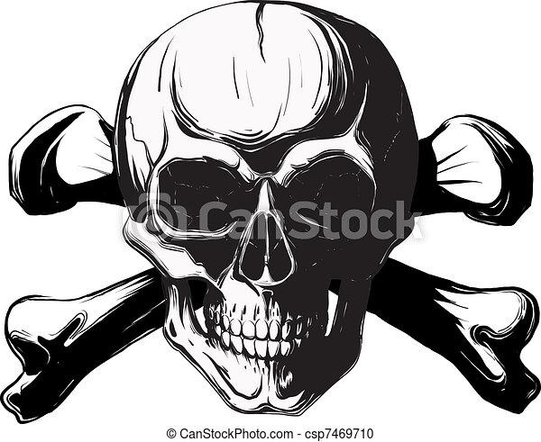 ossos, crucifixos, cranio - csp7469710