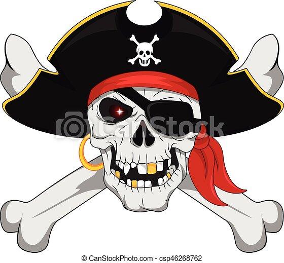 ossos, cruzado, pirata, cranio - csp46268762