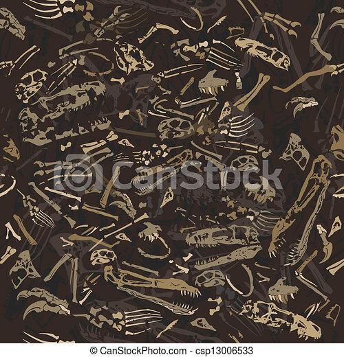 ossos, dinossauro, seamless, padrão - csp13006533