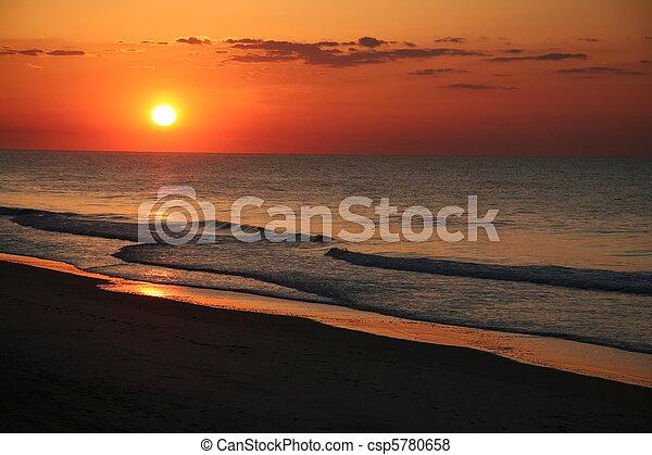 osten, sandstrand, sonnenaufgang, kueste - csp5780658