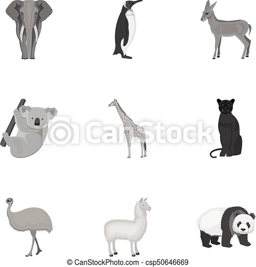 Ostrich emu, crocodile, giraffe, tiger, penguin and other wild animals. Artiodactyla, mammalian predators and animals set collection icons in monochrome style vector symbol stock illustration web. - csp50646669