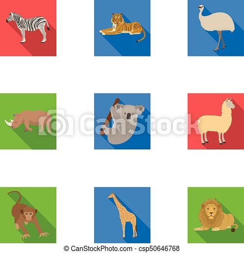Ostrich emu, crocodile, giraffe, tiger, penguin and other wild animals. Artiodactyla, mammalian predators and animals set collection icons in flat style vector symbol stock illustration web. - csp50646768