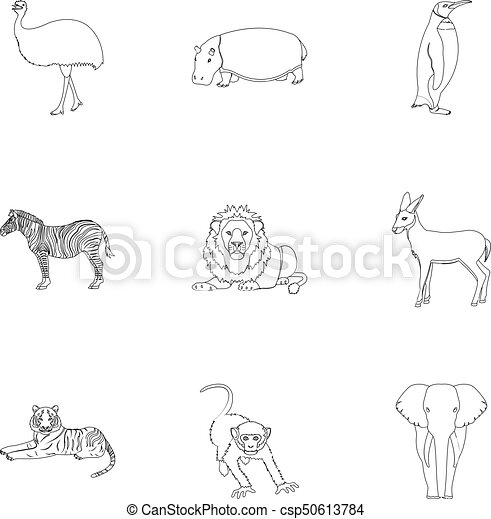 Ostrich emu, crocodile, giraffe, tiger, penguin and other wild animals. Artiodactyla, mammalian predators and animals set collection icons in outline style vector symbol stock illustration web. - csp50613784