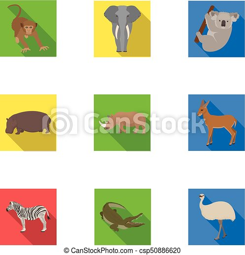 Ostrich emu, crocodile, giraffe, tiger, penguin and other wild animals. Artiodactyla, mammalian predators and animals set collection icons in flat style vector symbol stock illustration web. - csp50886620