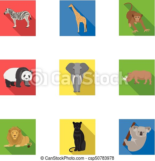 Ostrich emu, crocodile, giraffe, tiger, penguin and other wild animals. Artiodactyla, mammalian predators and animals set collection icons in flat style vector symbol stock illustration web. - csp50783978