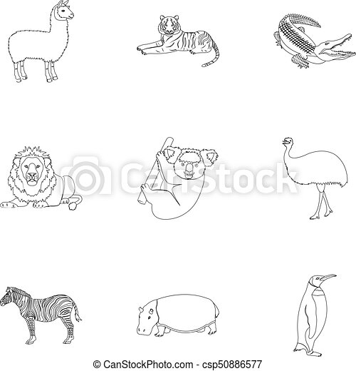 Ostrich emu, crocodile, giraffe, tiger, penguin and other wild animals. Artiodactyla, mammalian predators and animals set collection icons in outline style vector symbol stock illustration web. - csp50886577