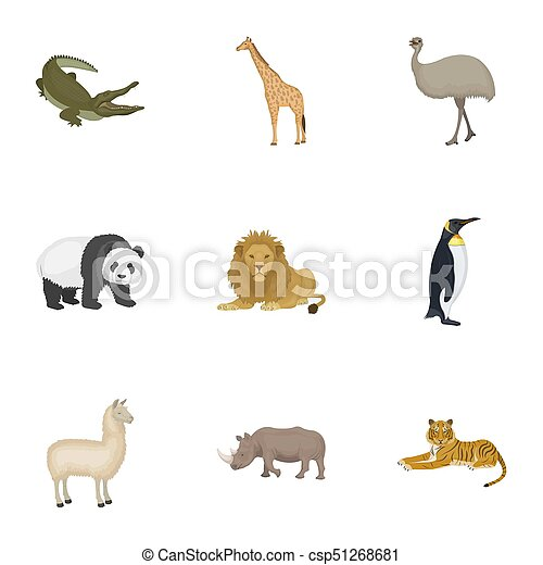 Ostrich emu, crocodile, giraffe, tiger, penguin and other wild animals. Artiodactyla, mammalian predators and animals set collection icons in cartoon style bitmap, raster symbol stock illustration web. - csp51268681