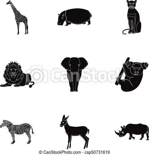 Ostrich emu, crocodile, giraffe, tiger, penguin and other wild animals. Artiodactyla, mammalian predators and animals set collection icons in black style vector symbol stock illustration web. - csp50731619