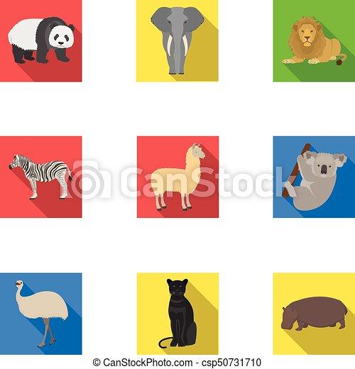Ostrich emu, crocodile, giraffe, tiger, penguin and other wild animals. Artiodactyla, mammalian predators and animals set collection icons in flat style vector symbol stock illustration web. - csp50731710