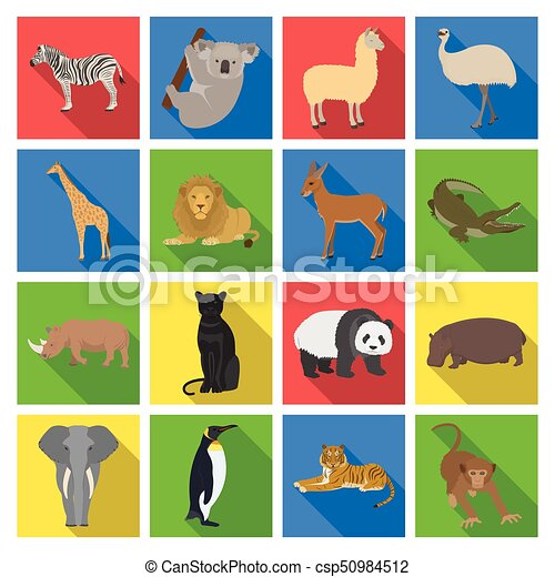 Ostrich emu, crocodile, giraffe, tiger, penguin and other wild animals. Artiodactyla, mammalian predators and animals set collection icons in flat style vector symbol stock illustration web. - csp50984512