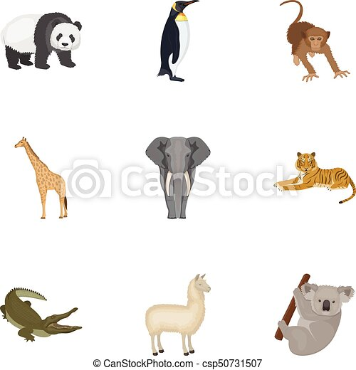 Ostrich emu, crocodile, giraffe, tiger, penguin and other wild animals. Artiodactyla, mammalian predators and animals set collection icons in cartoon style vector symbol stock illustration web. - csp50731507