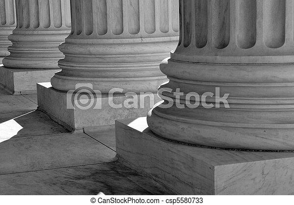 oszlop, legfőbb, egyesült, bíróság, igazságosság, egyesült államok, törvény - csp5580733