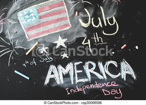 osztályterem, flag...4, amerikai, fekete, chalkboard, th, július - csp30068596