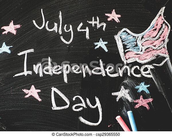 osztályterem, flag...4, amerikai, fekete, chalkboard, th, július - csp29365550