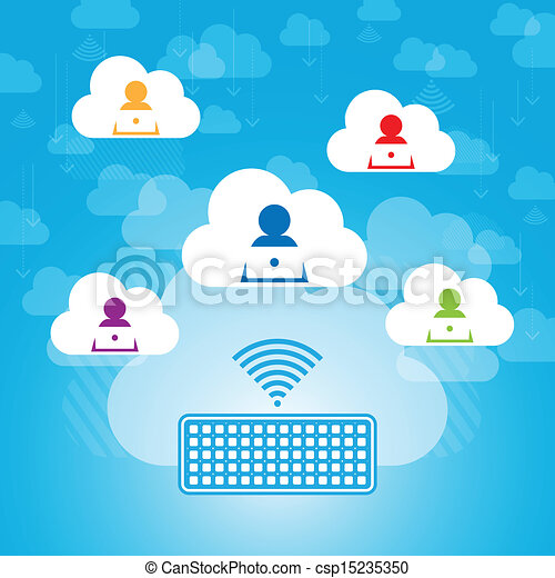 osztozás, felhő, kapcsolatok - csp15235350