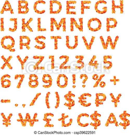 Otoño, alfabeto, hojas, números, descuento. Aviadores,... vectores ...