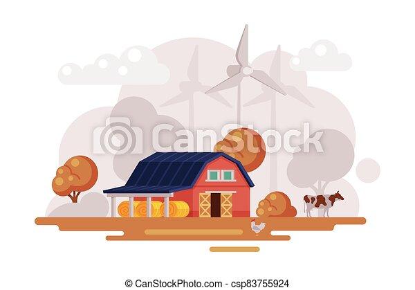 otoño, caricatura, turbinas, viento, casa, vaca, paisaje, rojo, escena, agricultura, granja, vector, rural, pasto, agricultura, ilustración, granero, concepto - csp83755924