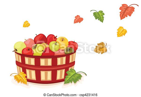 La cosecha de otoño con manzanas en la canasta - csp4231416