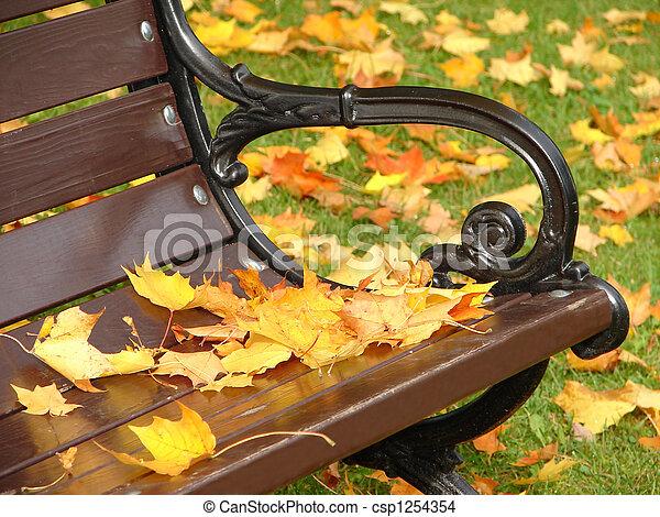 El banco del parque en otoño cerca - csp1254354